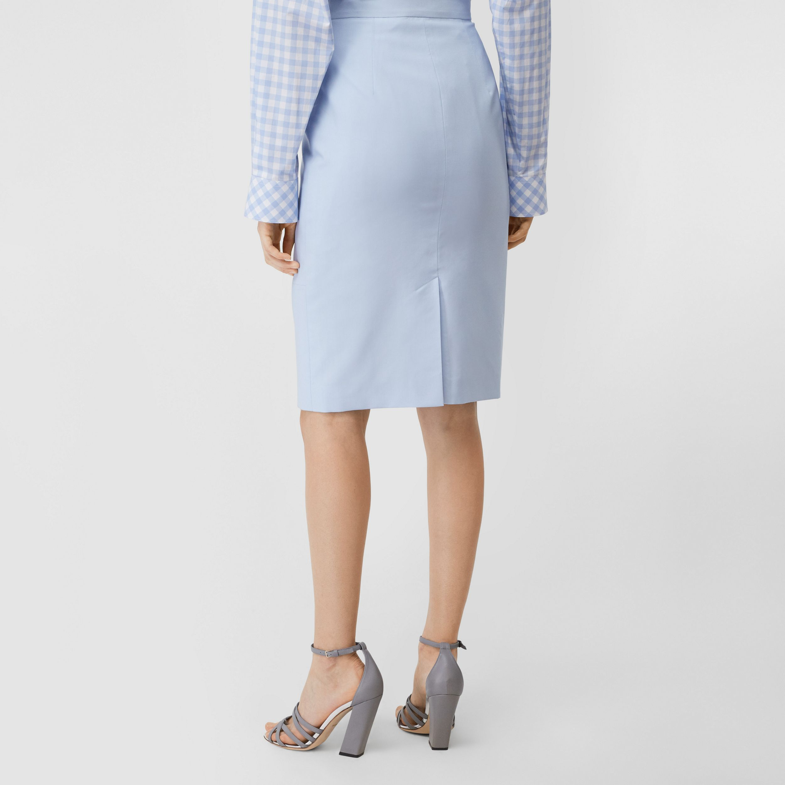Wool Canvas Step-through Pencil Skirt in Pale Blue - Women | Burberry Australia - 3