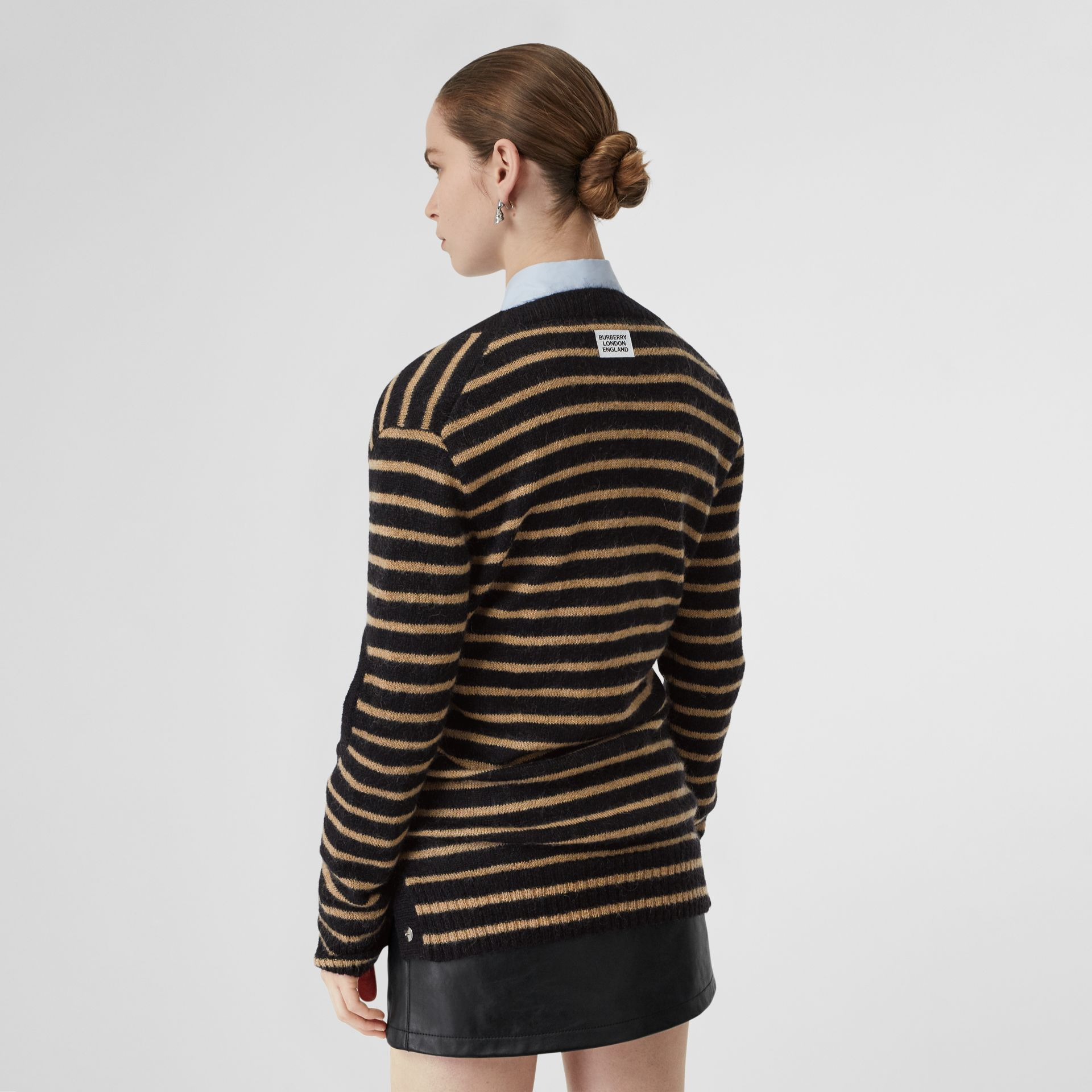 Montage Print Striped Mohair Wool Blend Sweater in Black/honey - Women | Burberry Australia - gallery image 2