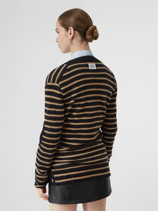 Montage Print Striped Mohair Wool Blend Sweater in Black/honey - Women | Burberry - cell image 2