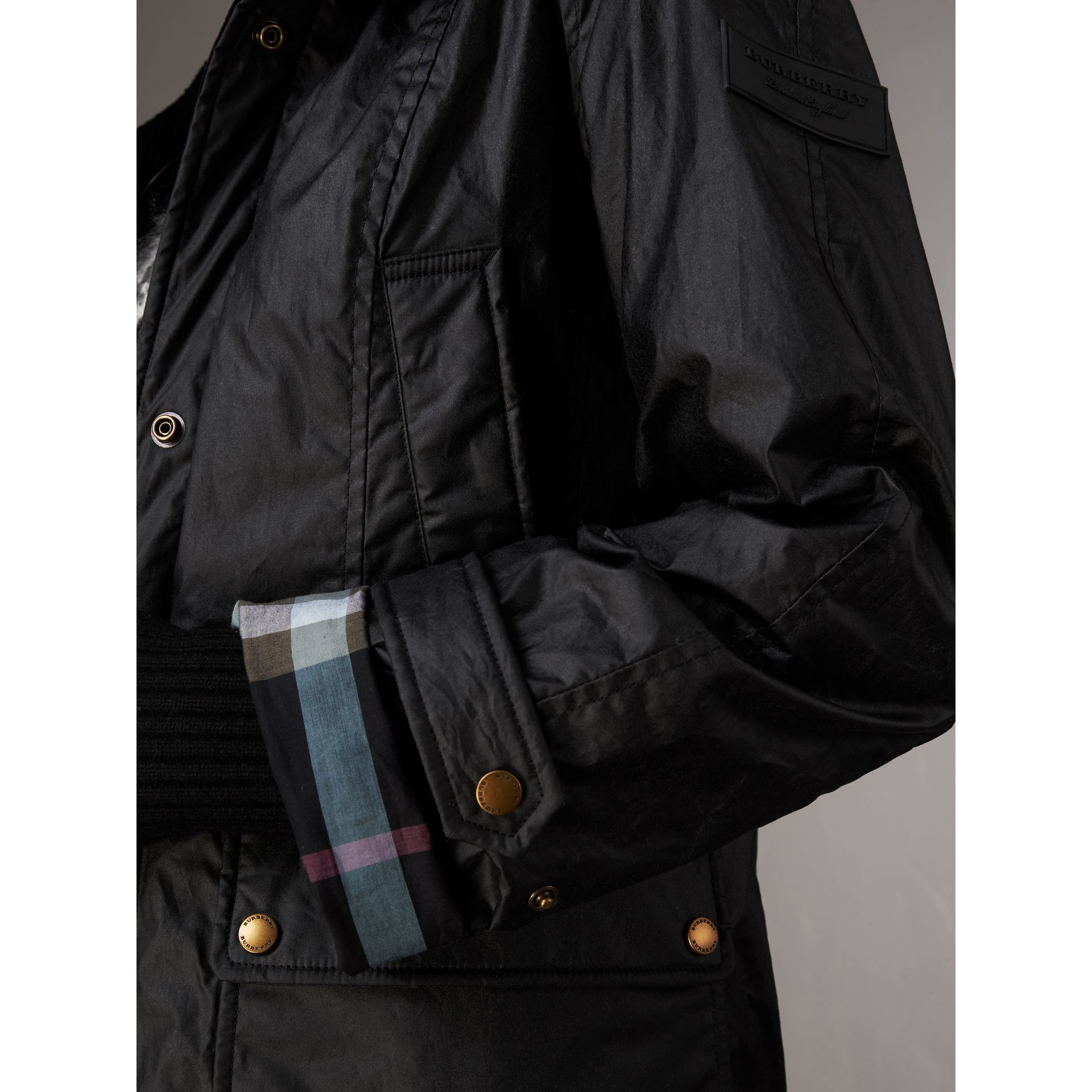 Detachable Hood Waxed Cotton Field Jacket in Black - Women | Burberry United States - gallery image 3