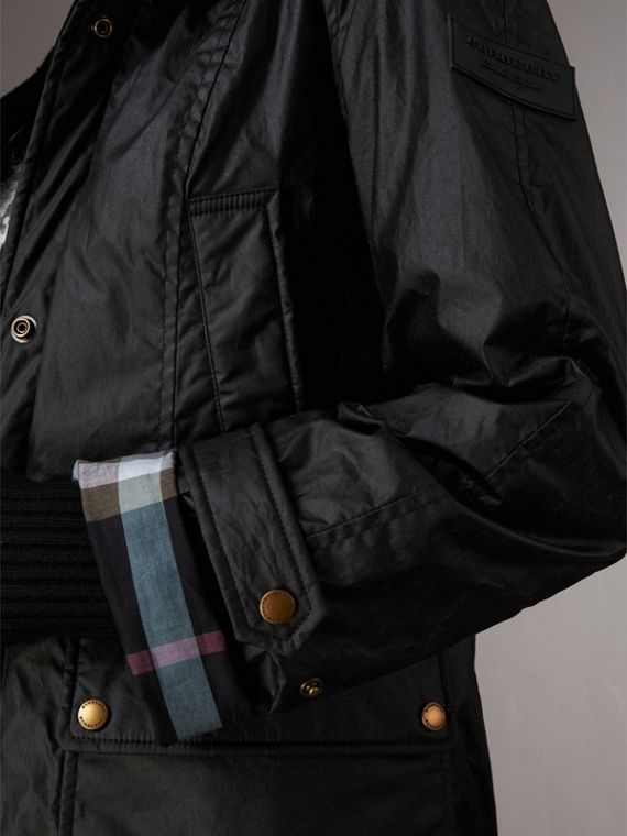 Detachable Hood Waxed Cotton Field Jacket in Black - Women | Burberry United States - cell image 3
