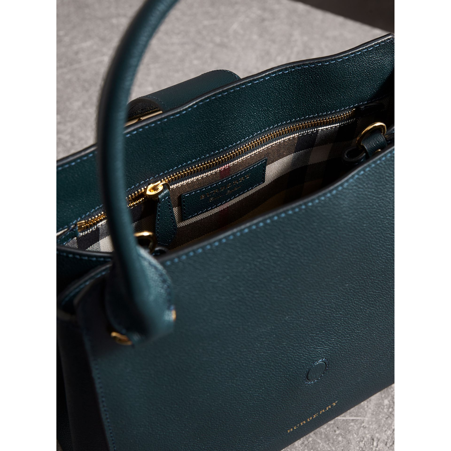 The Medium Buckle Tote in Grainy Leather in Blue Carbon - Women | Burberry - gallery image 6