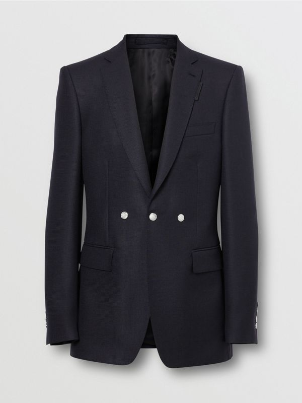 English Fit Triple Stud Wool Mohair Tailored Jacket in Midnight Blue - Men | Burberry - cell image 3