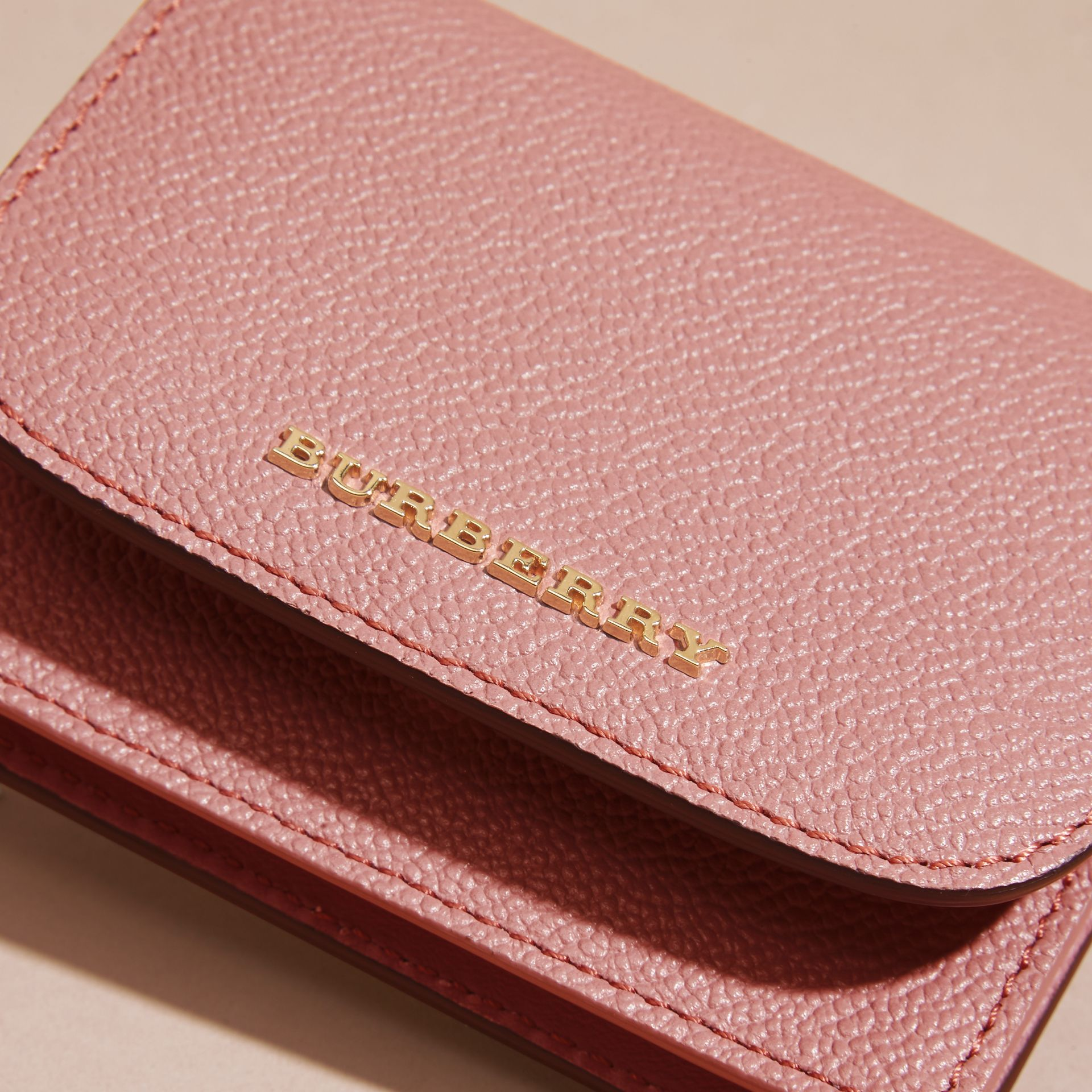 Grainy Leather Card Case in Dusty Pink - gallery image 2