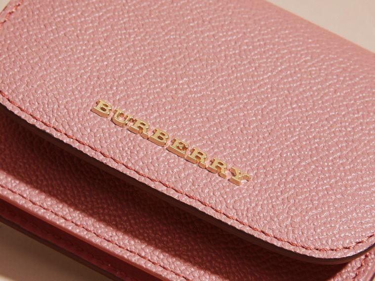 Grainy Leather Card Case in Dusty Pink - cell image 1