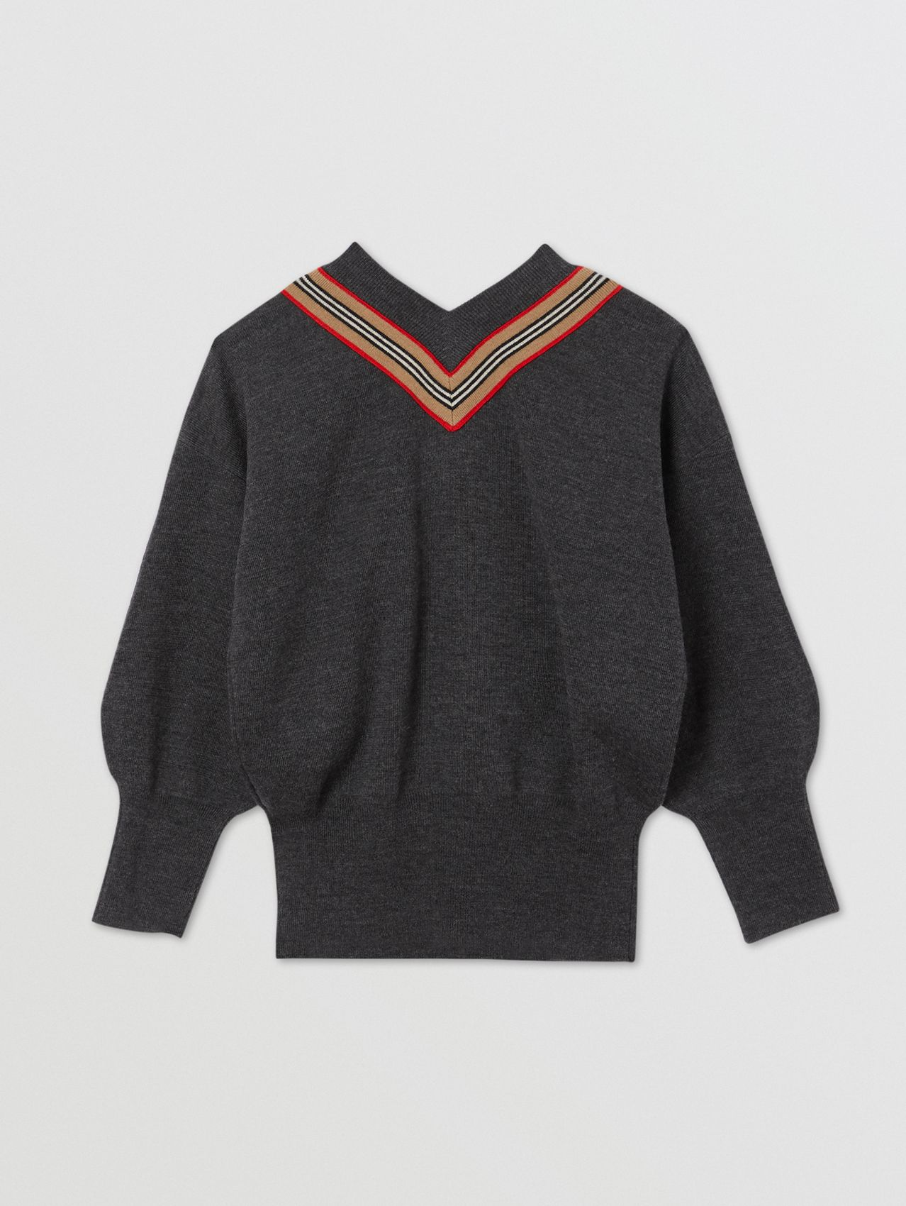 Icon Stripe Bow Merino Wool Silk Sweater