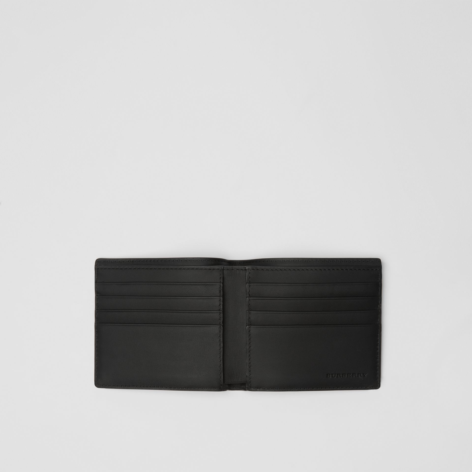 London Check and Leather International Bifold Wallet in Charcoal/black - Men | Burberry - gallery image 2