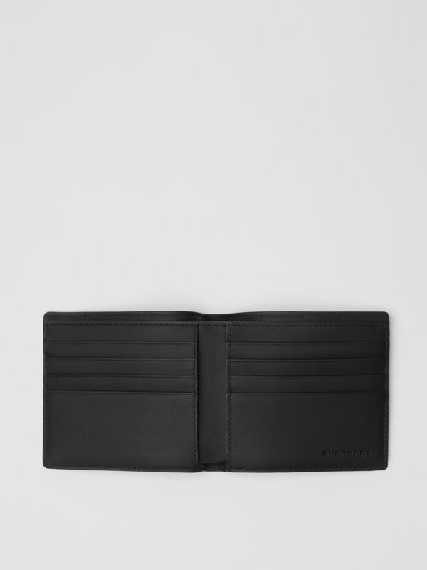 London Check and Leather International Bifold Wallet in Charcoal/black - Men | Burberry United Kingdom - cell image 2