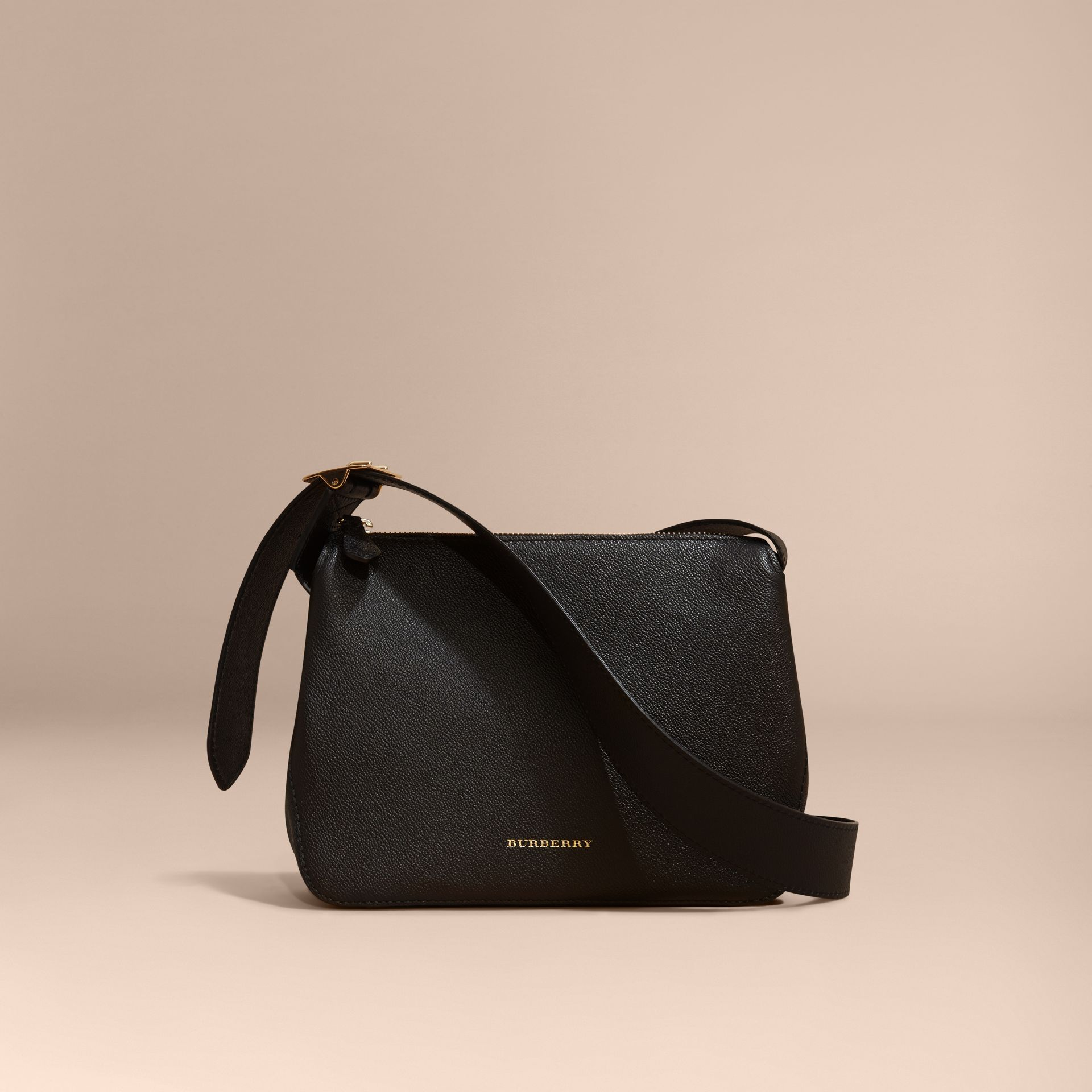 Black Buckle Detail Leather Crossbody Bag Black - gallery image 8