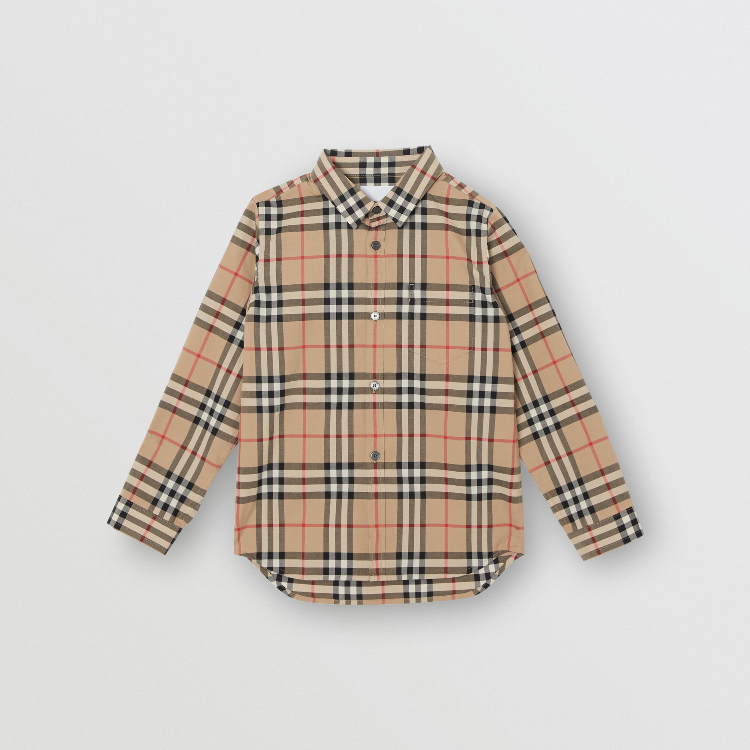 Vintage Check Cotton Poplin Shirt in Archive Beige | Burberry Australia - 1