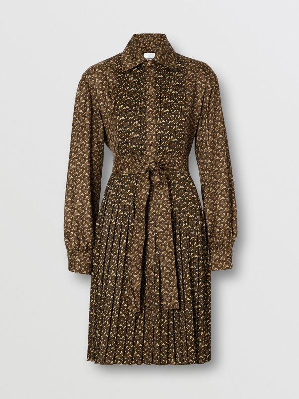 Pleated Monogram Print Jersey Tie-waist Shirt Dress in Bridle Brown - Women | Burberry United Kingdom - cell image 3