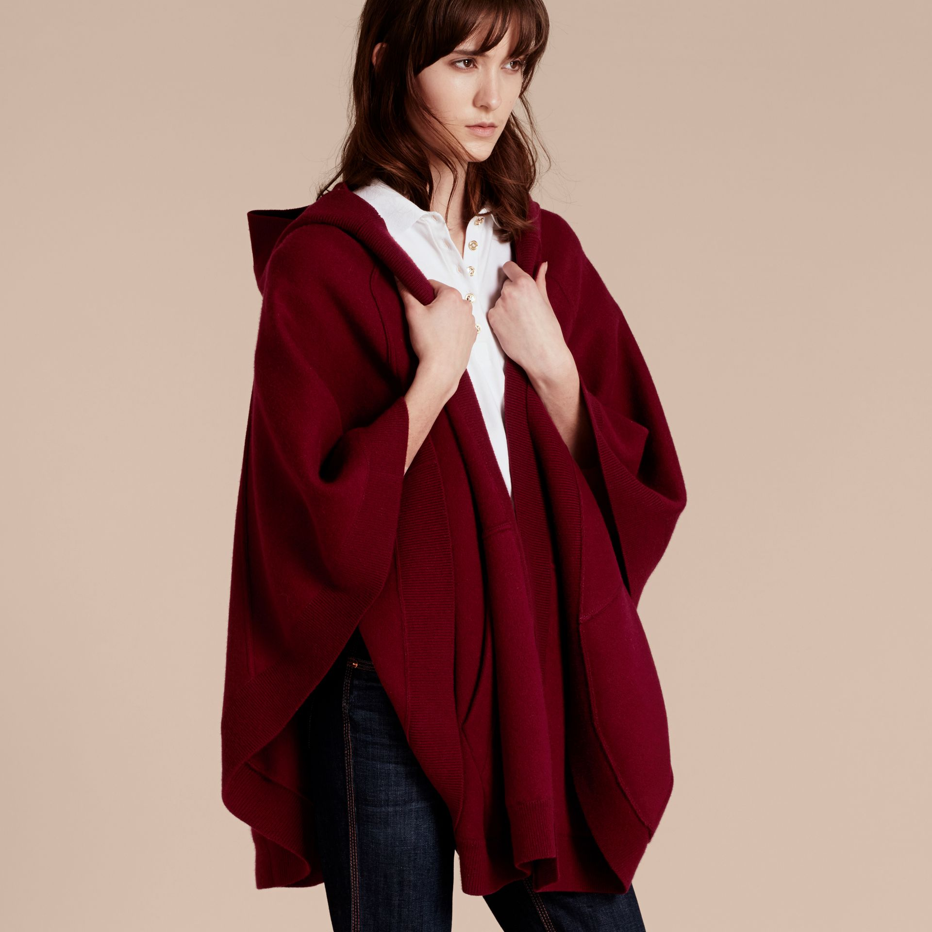 Wool Cashmere Blend Hooded Poncho in Deep Red - Women | Burberry - gallery image 6
