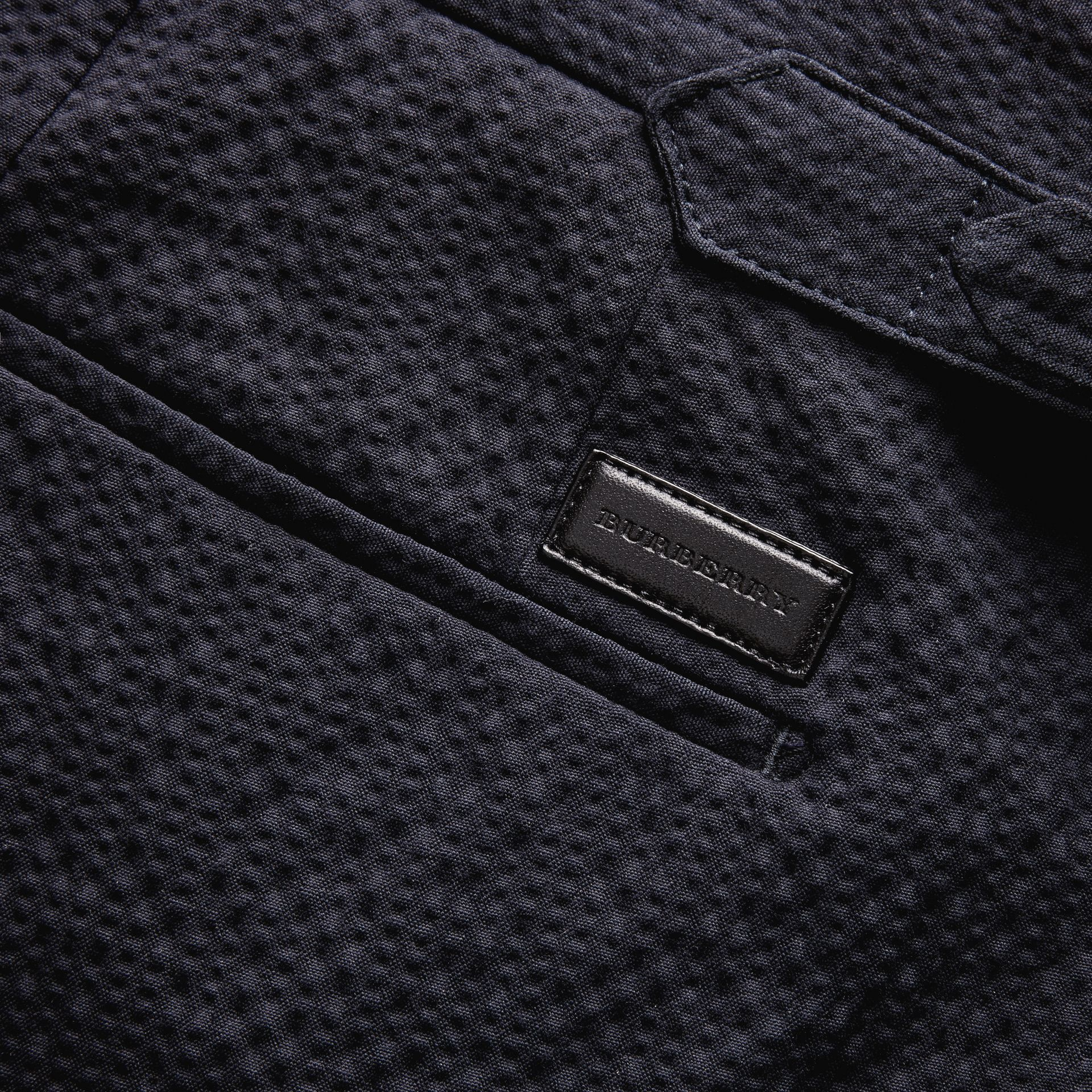 Tailored Stretch Cotton Shorts Navy - gallery image 2