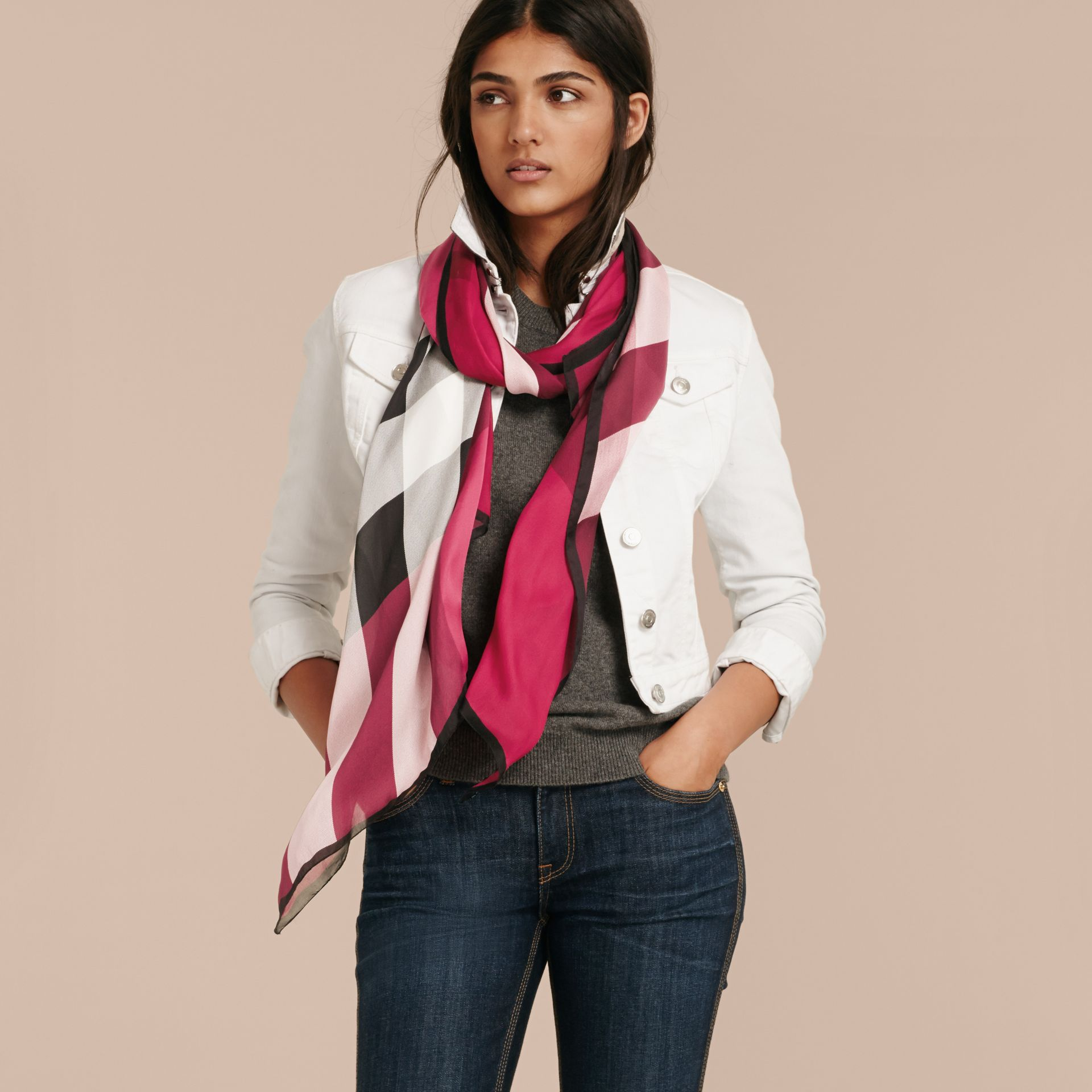 Lightweight Check Silk Scarf in Fuchsia Pink - Women | Burberry United Kingdom - gallery image 3