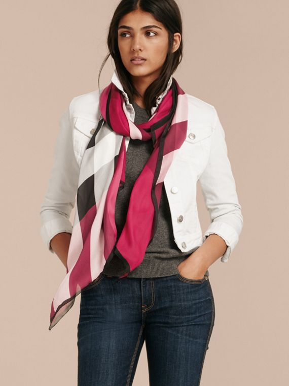Lightweight Check Silk Scarf in Fuchsia Pink - cell image 2