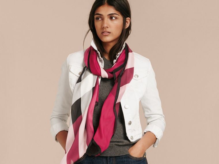 Lightweight Check Silk Scarf in Fuchsia Pink - Women | Burberry United Kingdom - cell image 2