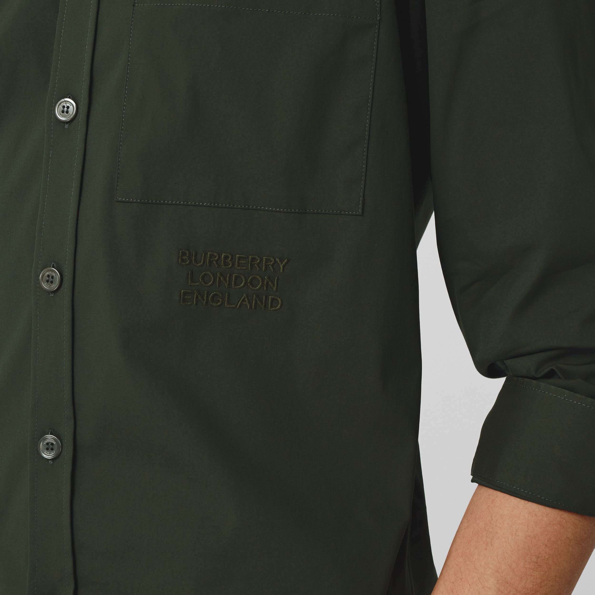 Embroidered Logo Cotton Blend Shirt in Forest Green - Men | Burberry Australia - 2