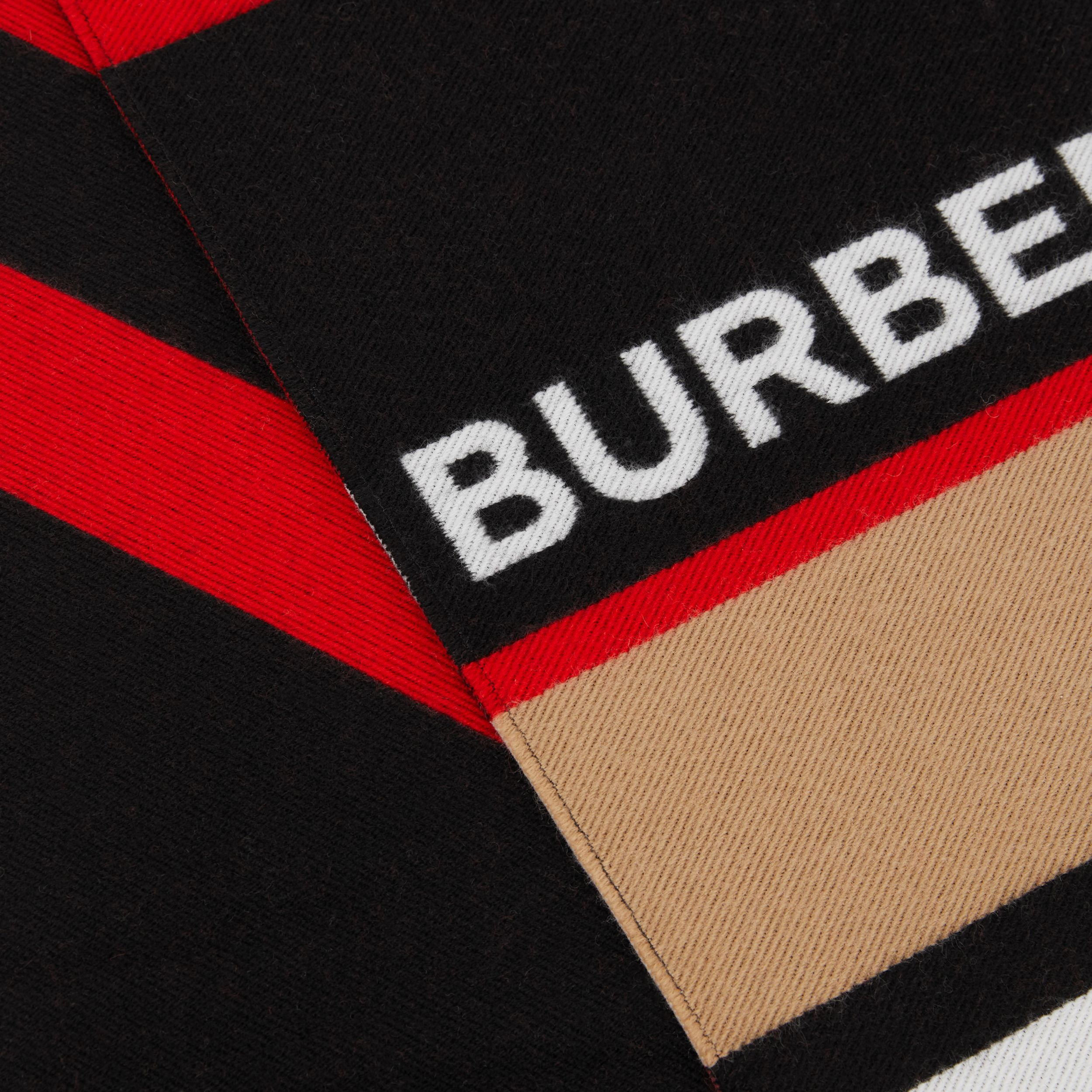 Logo and Icon Stripe Wool Cotton Jacquard Scarf in Bright Red - Children | Burberry - 2