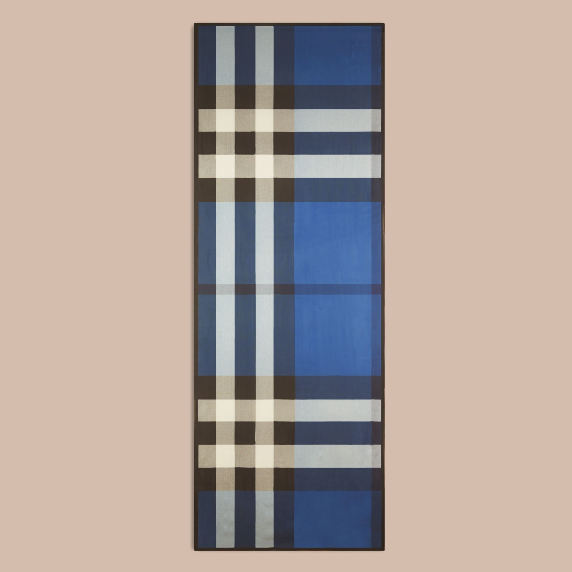 Cadet blue Lightweight Check Silk Scarf Cadet Blue - gallery image 4