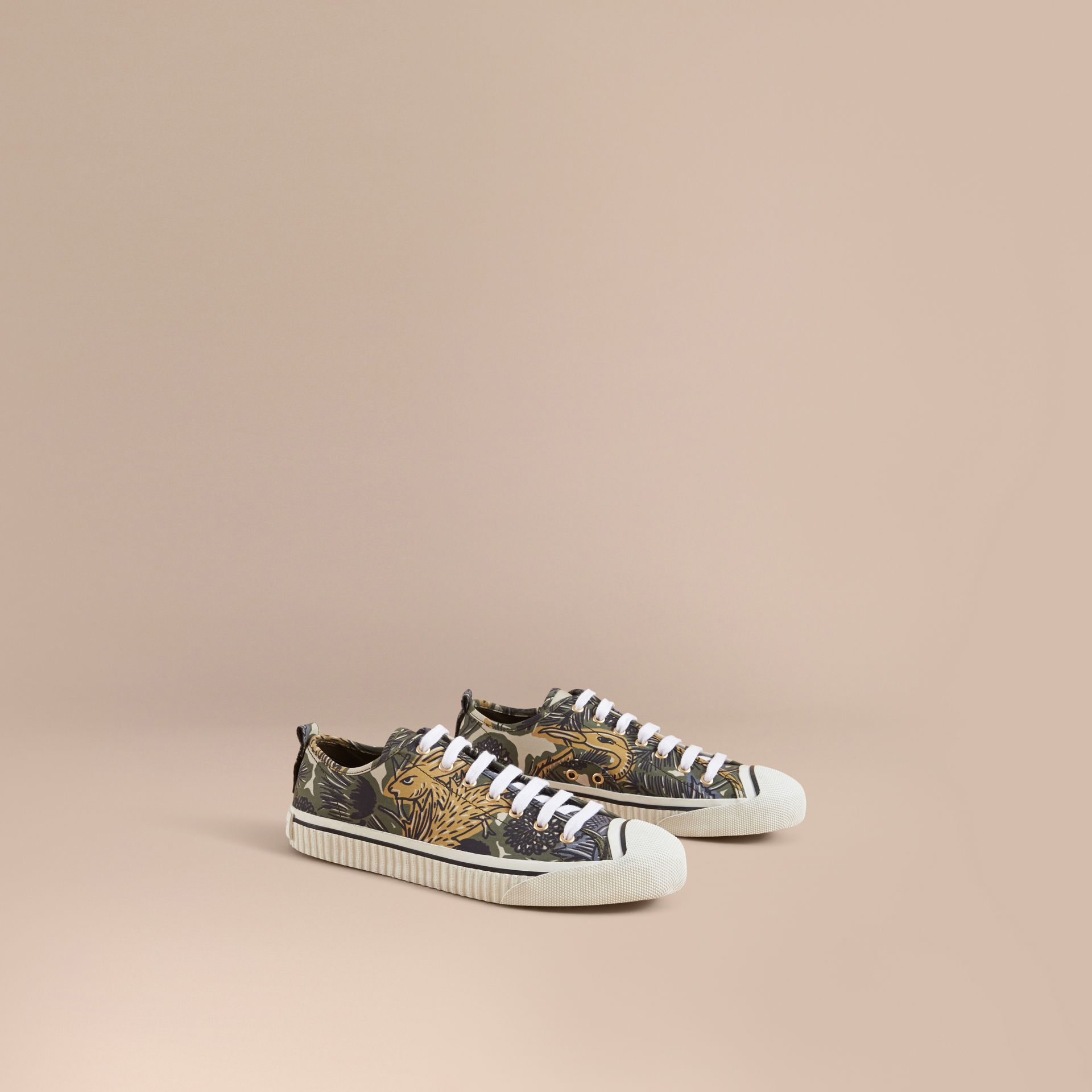 Beasts Print Stretch Cotton Trainers in Clay Green - Men | Burberry - gallery image 1