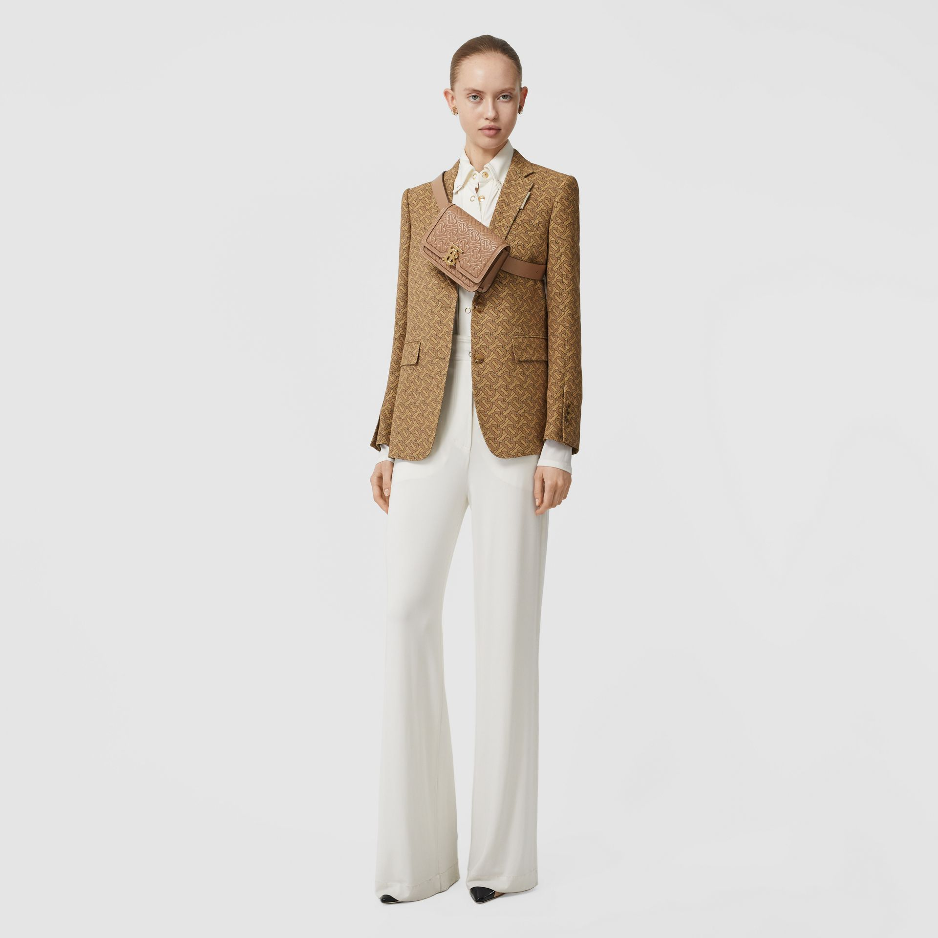 Monogram Print Silk Tailored Jacket in Tawny - Women | Burberry - gallery image 5