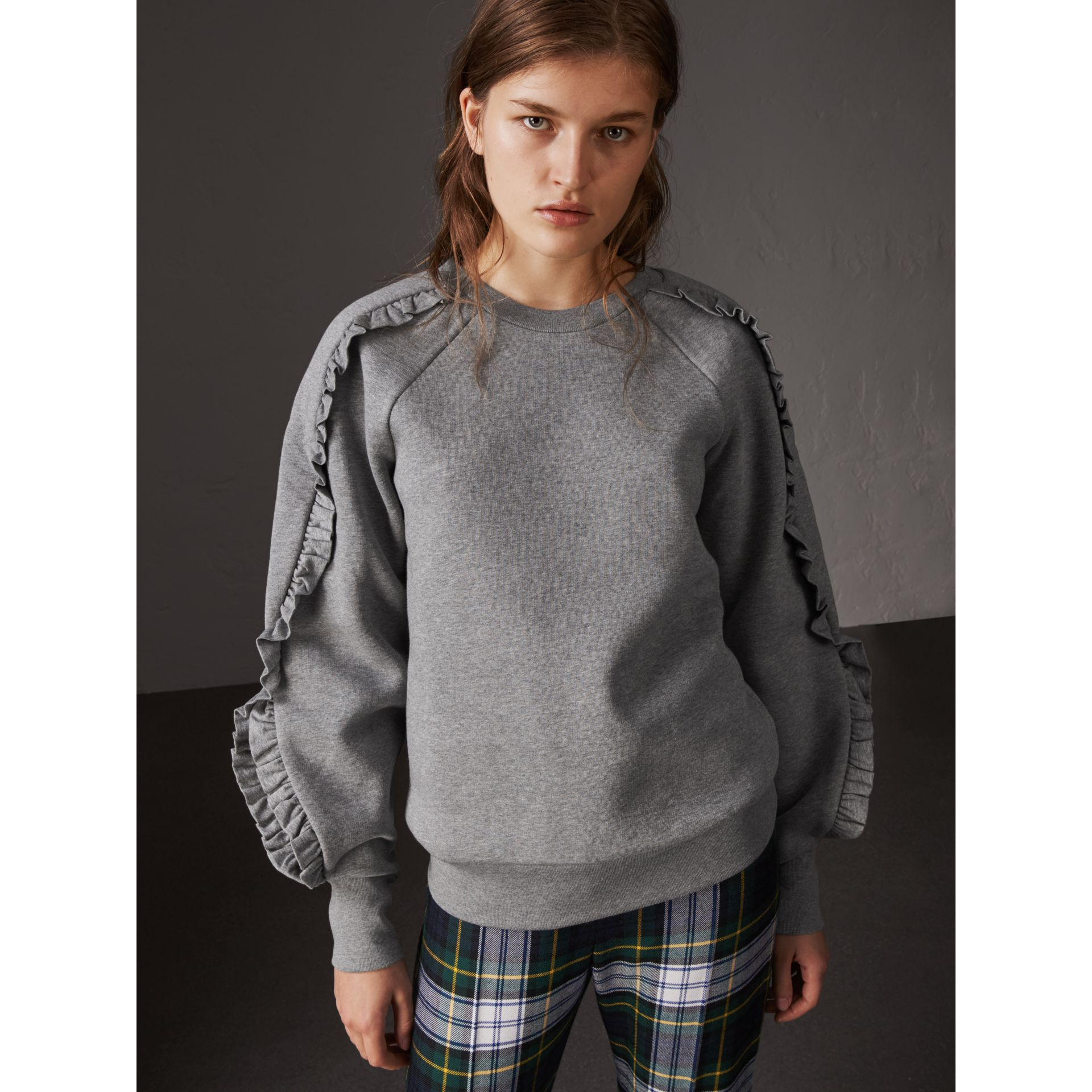 Ruffle-sleeve Sweatshirt in Pale Grey Melange - Women | Burberry - gallery image 5