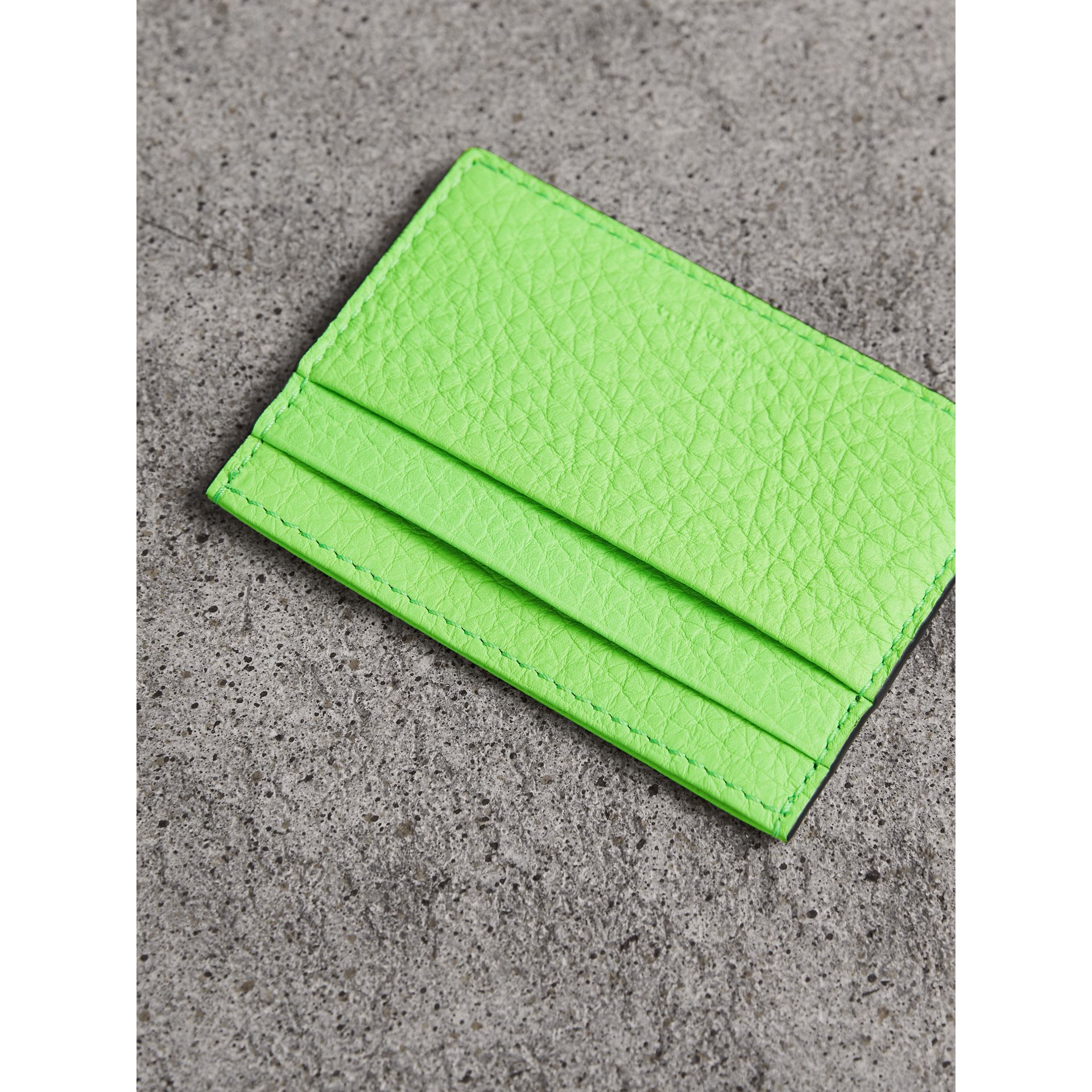 Embossed Textured Leather Card Case in Neon Green | Burberry - gallery image 2