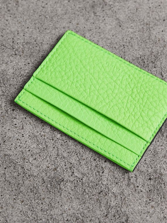 Embossed Textured Leather Card Case in Neon Green | Burberry United States - cell image 2
