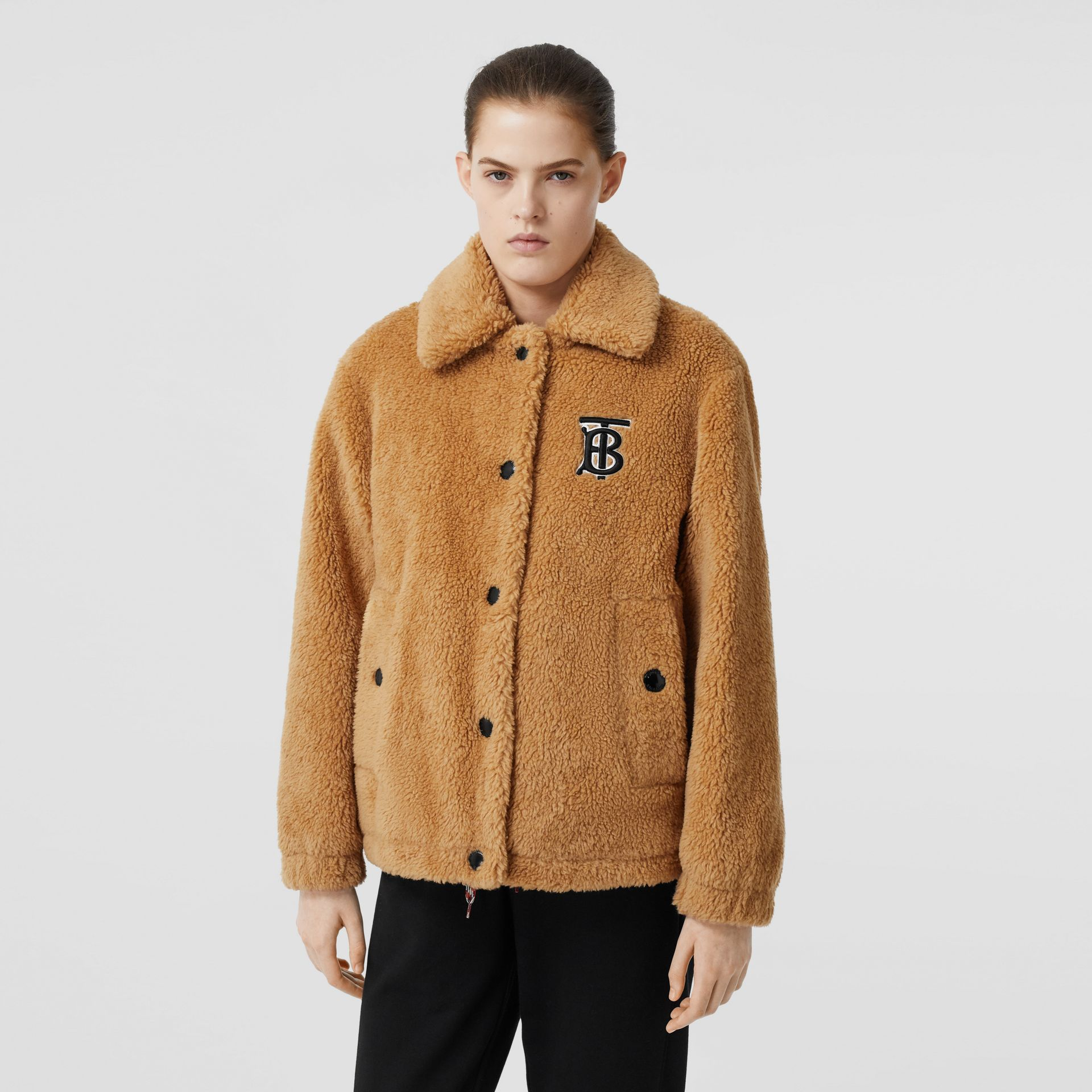 Monogram Motif Fleece Jacket in Camel - Women | Burberry - gallery image 4