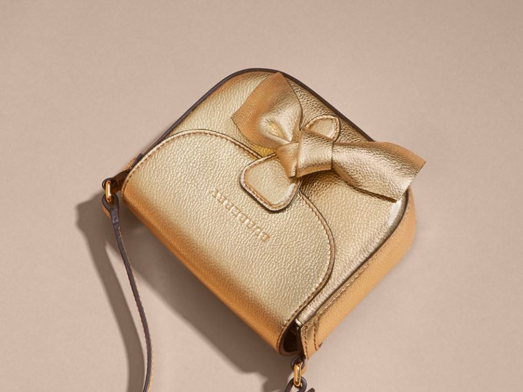 Gold Metallic Leather Crossbody Bag - cell image 4