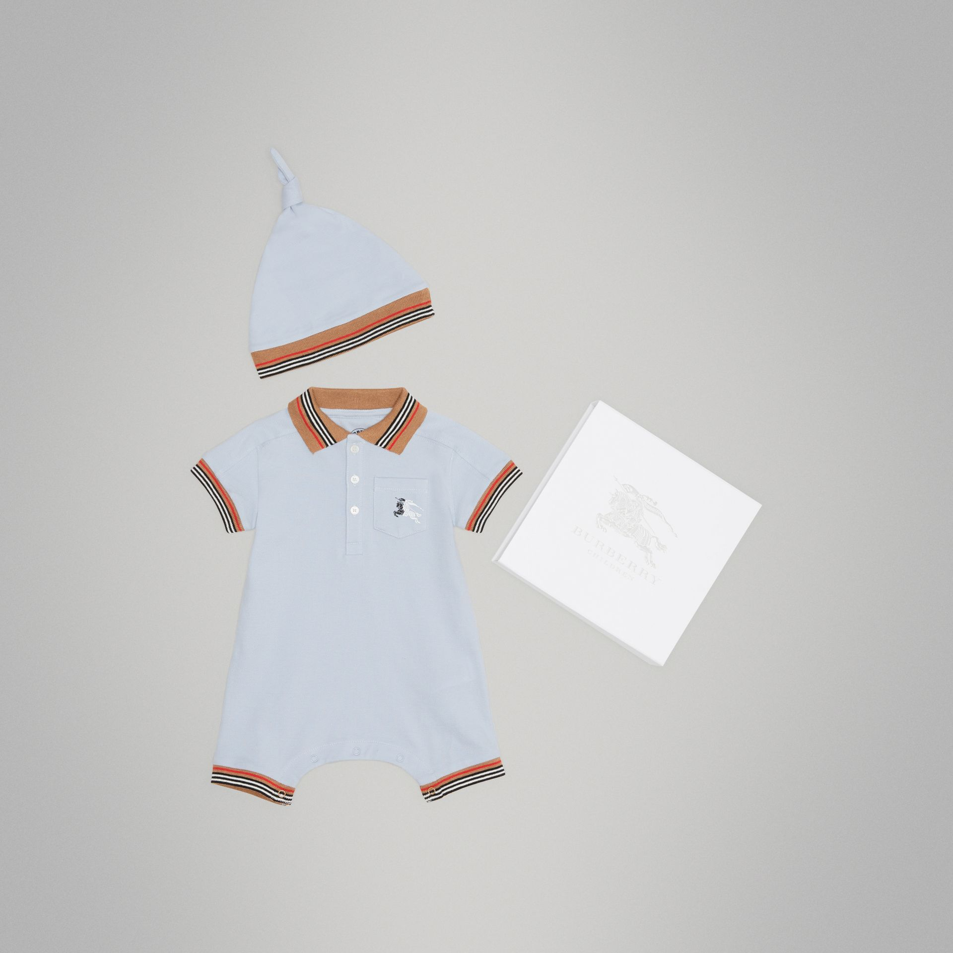 Heritage Stripe Cotton Piqué Two-piece Baby Gift Set in Ice Blue | Burberry United Kingdom - gallery image 0