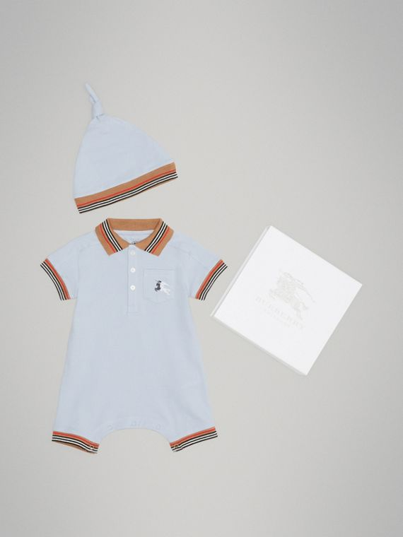 Icon Stripe Cotton Piqué Two-piece Baby Gift Set in Ice Blue