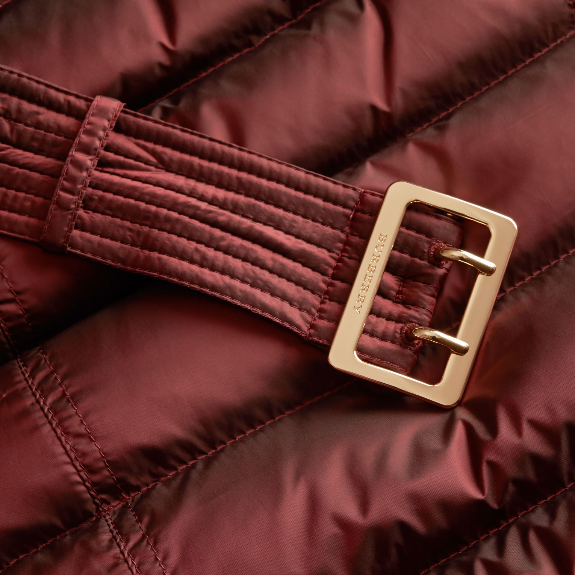 Down-filled Coat with Fox Fur Trim Hood in Burgundy - Women | Burberry - gallery image 2