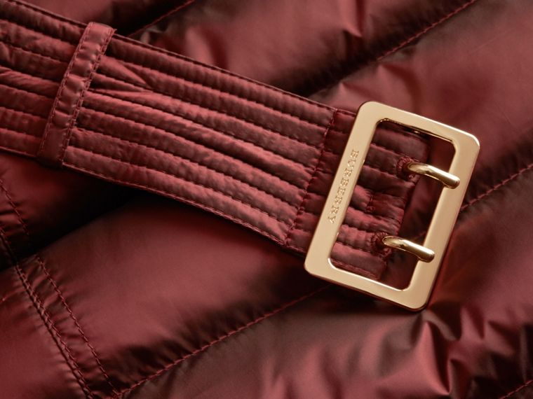 Down-filled Coat with Fox Fur Trim Hood in Burgundy - Women | Burberry - cell image 1