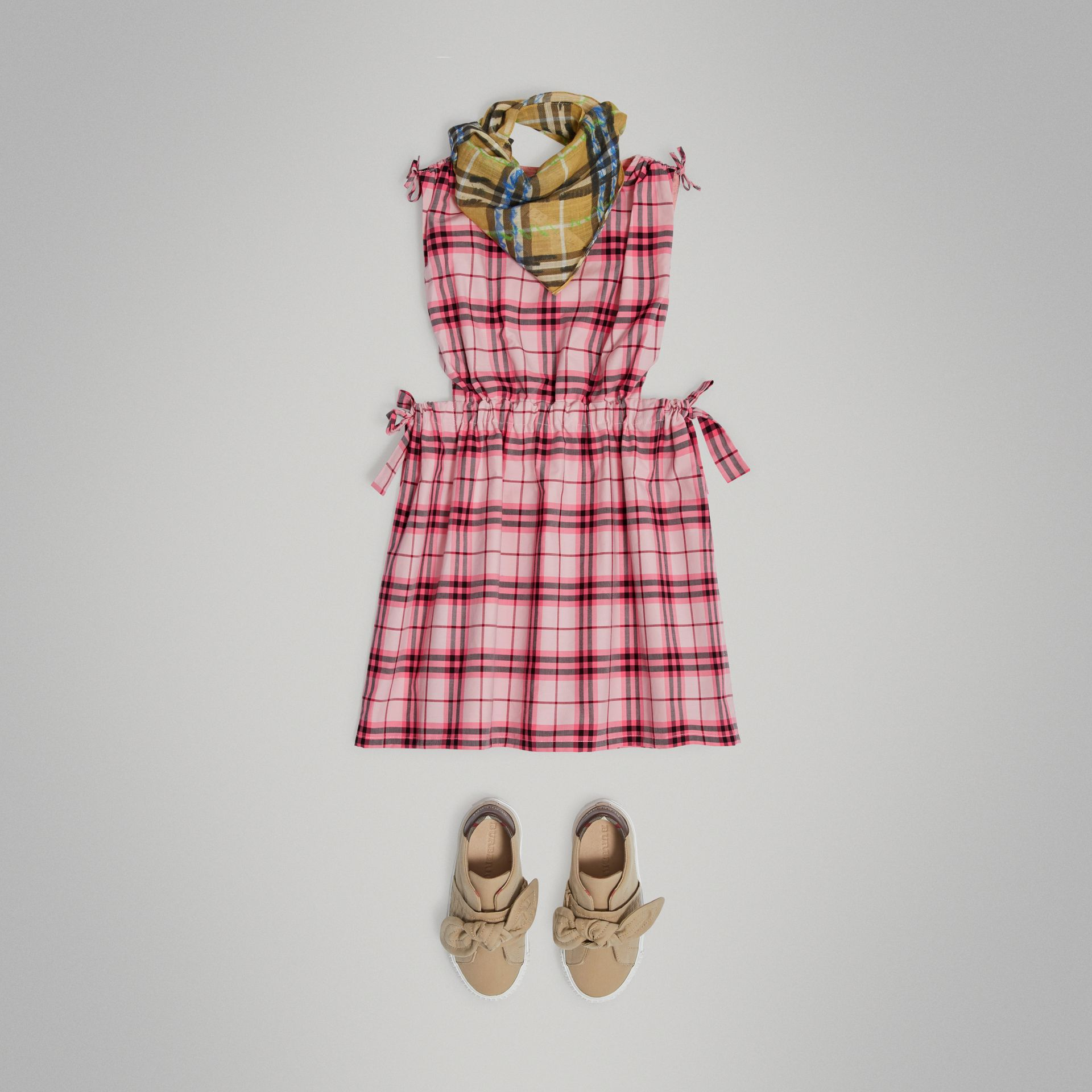 Tie Detail Check Cotton Dress in Bright Rose - Girl | Burberry United Kingdom - gallery image 2