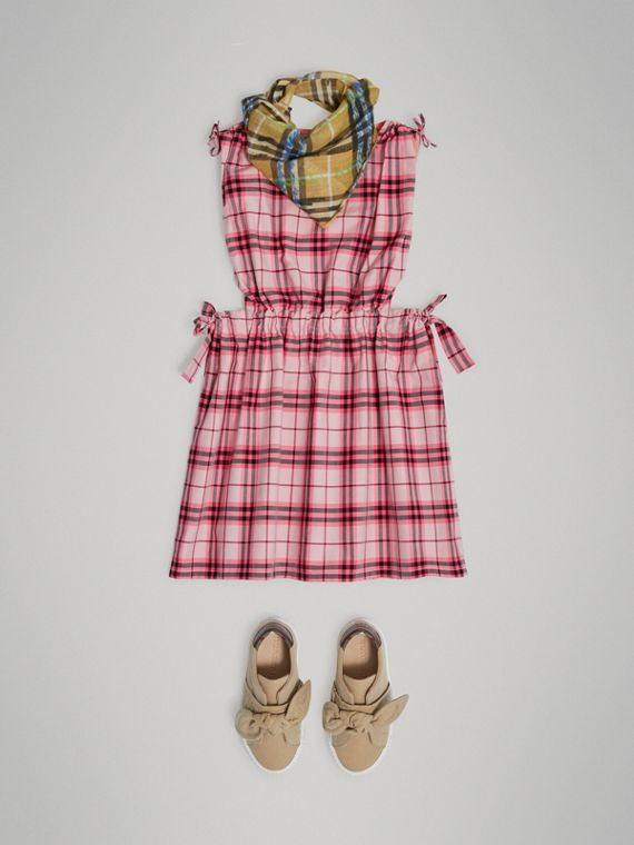Tie Detail Check Cotton Dress in Bright Rose - Girl | Burberry United Kingdom - cell image 2