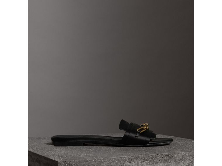 Link Detail Satin and Leather Slides in Black - Women | Burberry - cell image 4