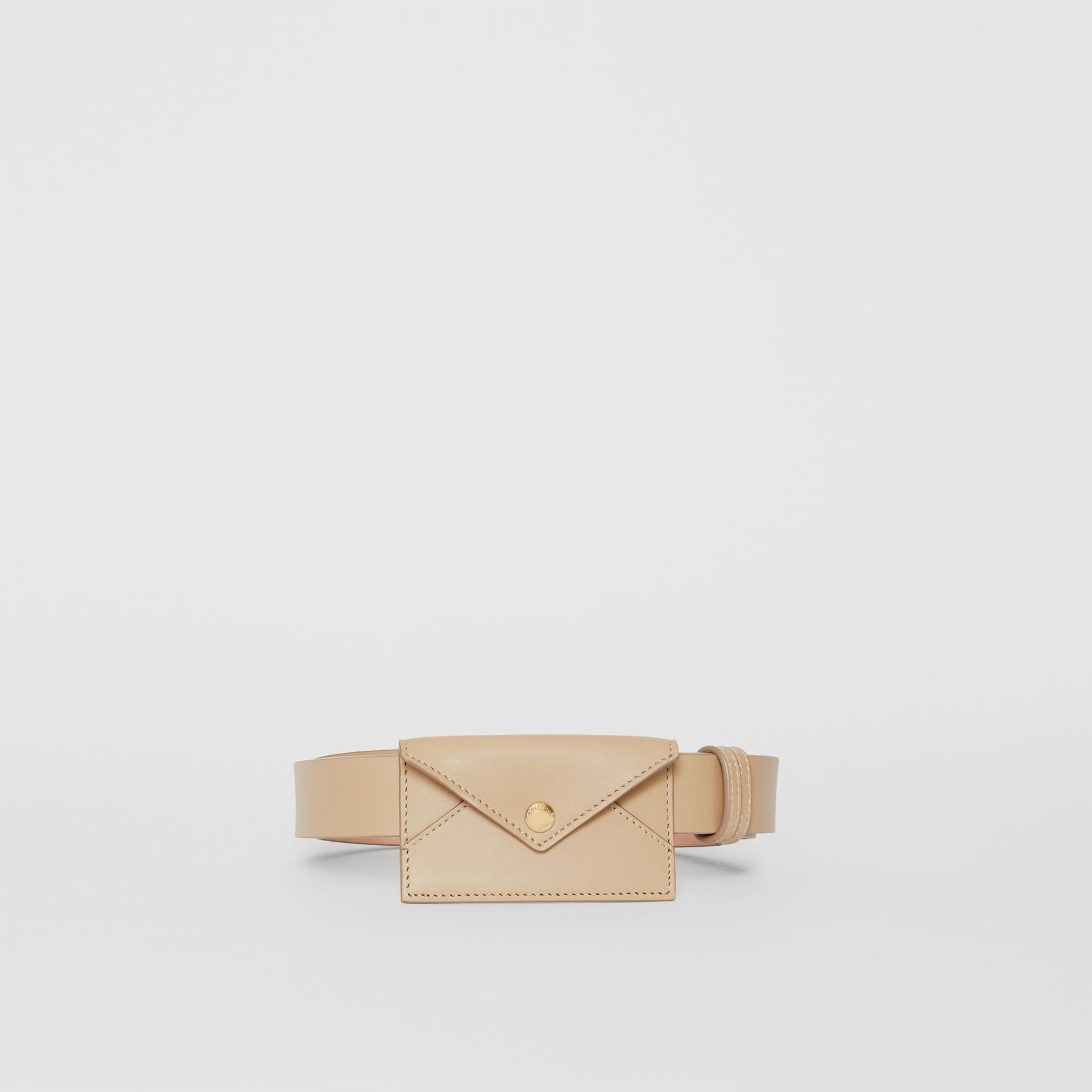 Envelope Detail Leather Belt in Latte - Women | Burberry - gallery image 3