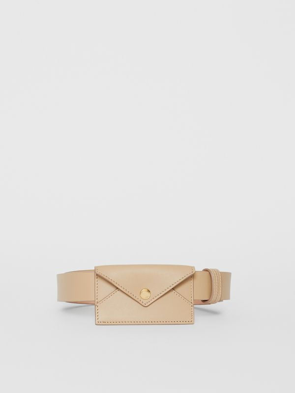 Envelope Detail Leather Belt in Latte - Women | Burberry Hong Kong S.A.R - cell image 3