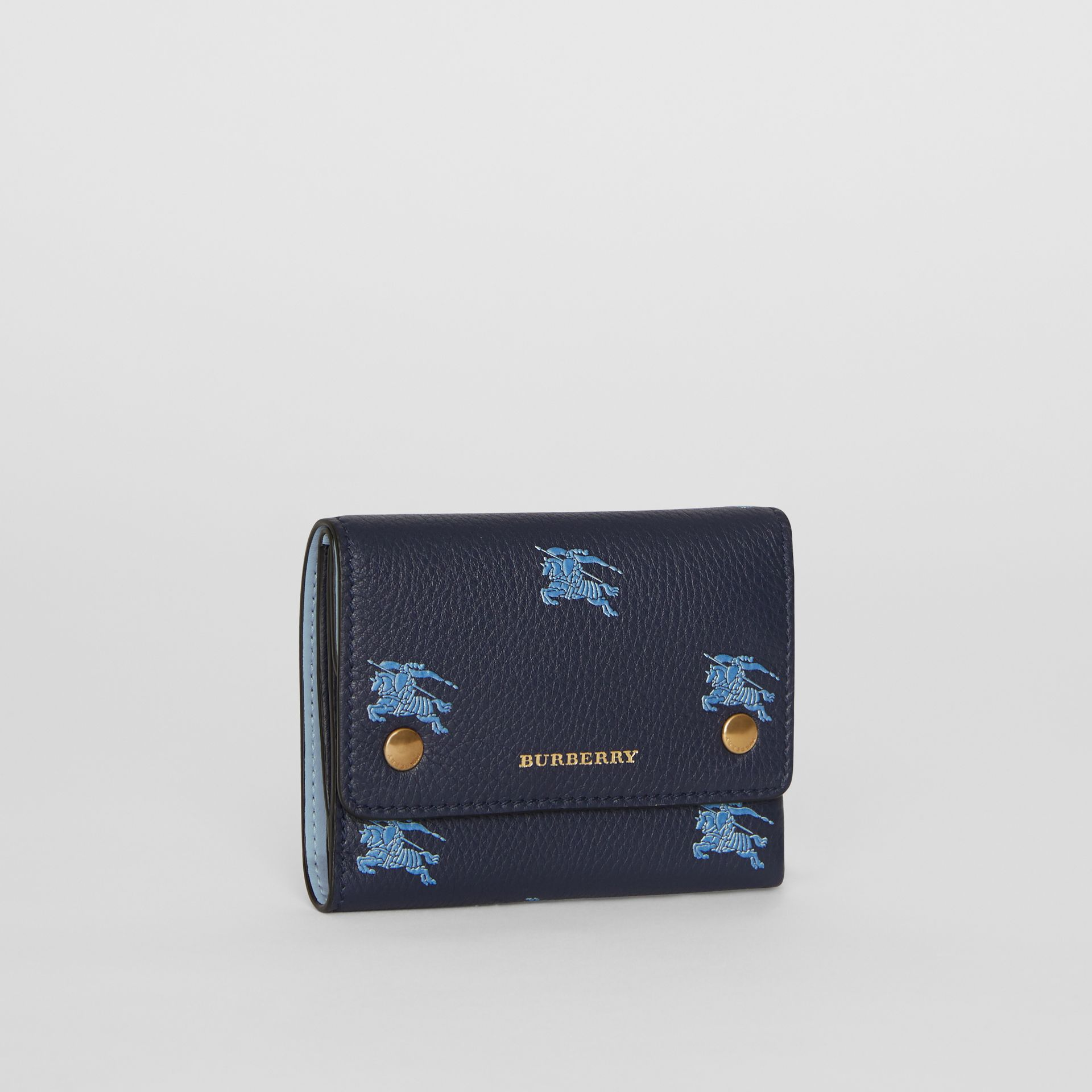 Small EKD Leather Wallet in Regency Blue - Women | Burberry - gallery image 3