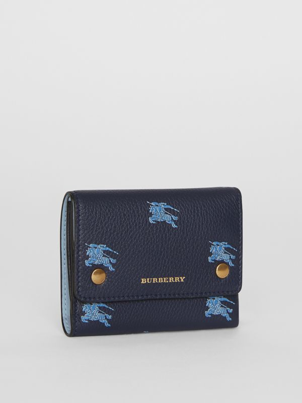Small EKD Leather Wallet in Regency Blue - Women | Burberry - cell image 3