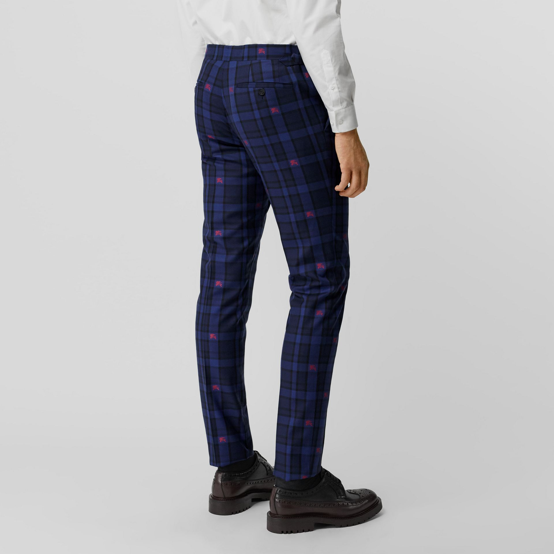 Slim Fit EKD Check Wool Tailored Trousers in Dark Indigo - Men | Burberry Singapore - gallery image 2