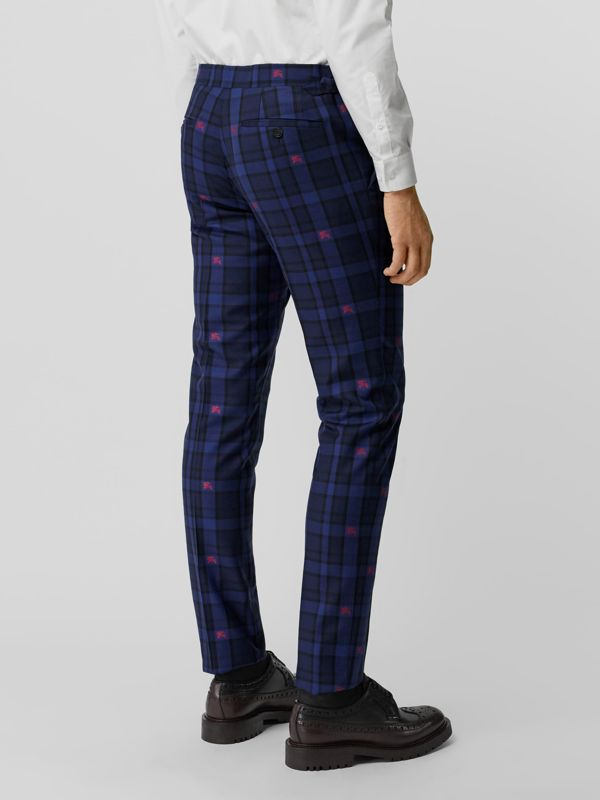 Slim Fit EKD Check Wool Tailored Trousers in Dark Indigo - Men | Burberry - cell image 2
