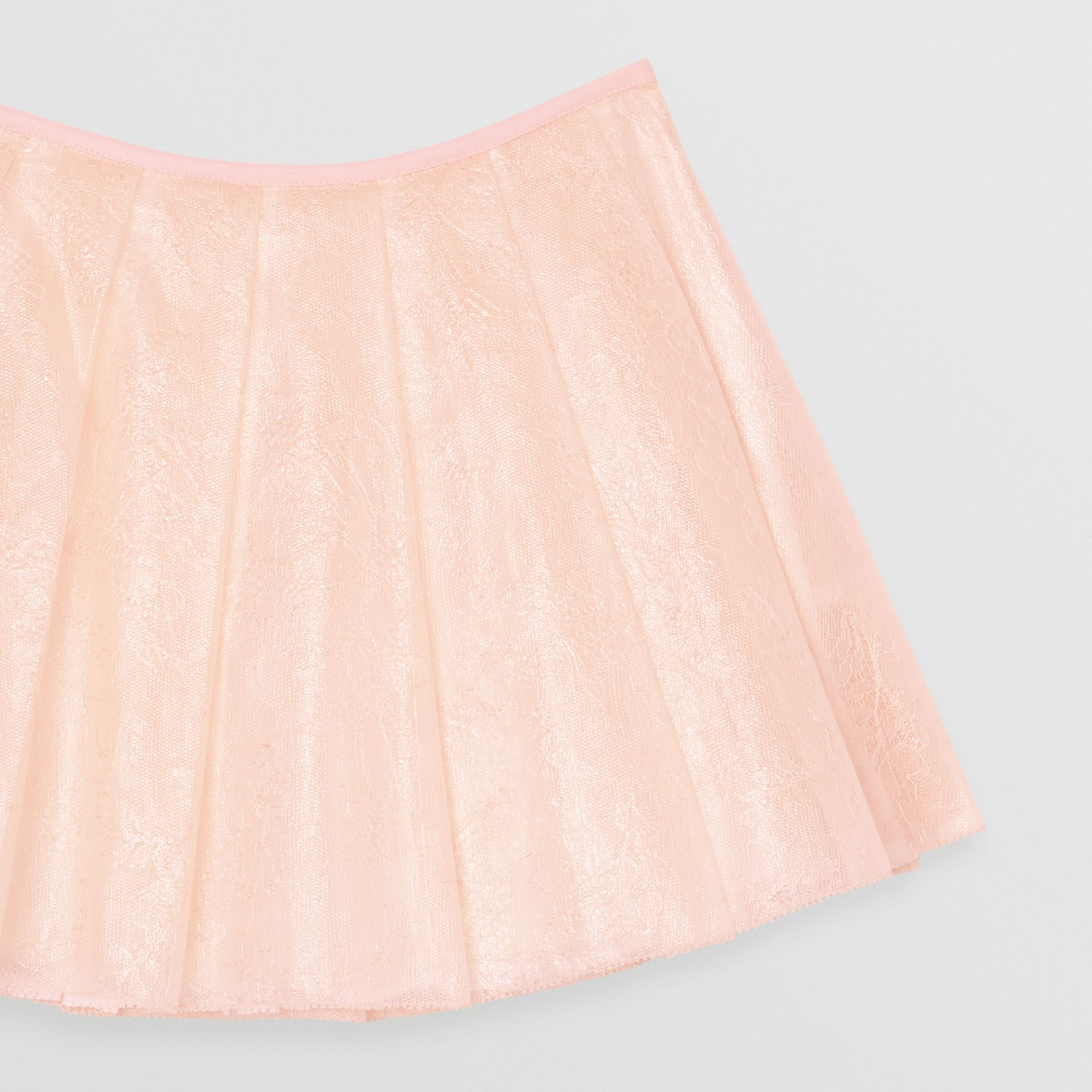 Pleated Laminated Lace Skirt in Pale Pink | Burberry - gallery image 4