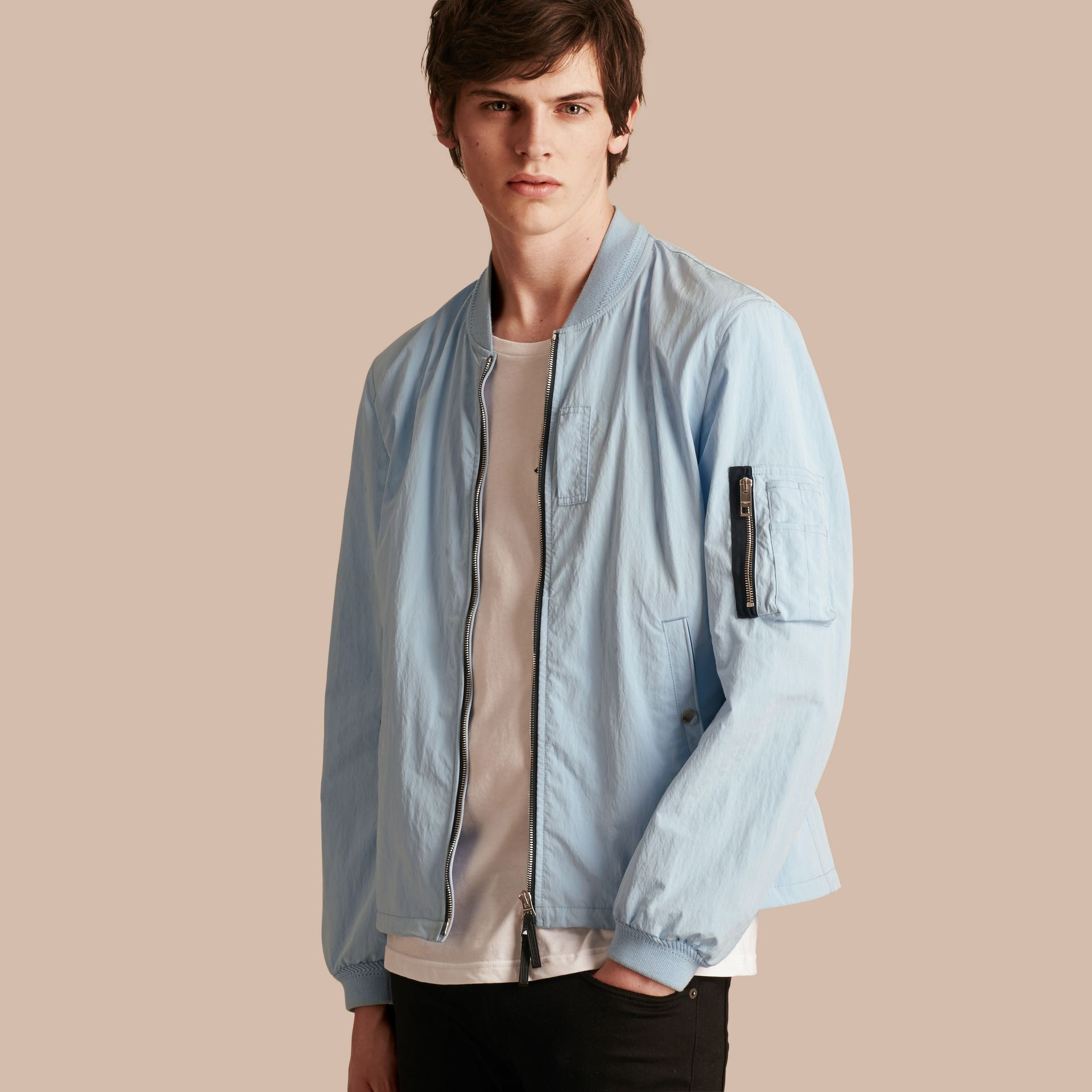 Light blue Lightweight Technical Bomber Jacket - gallery image 1