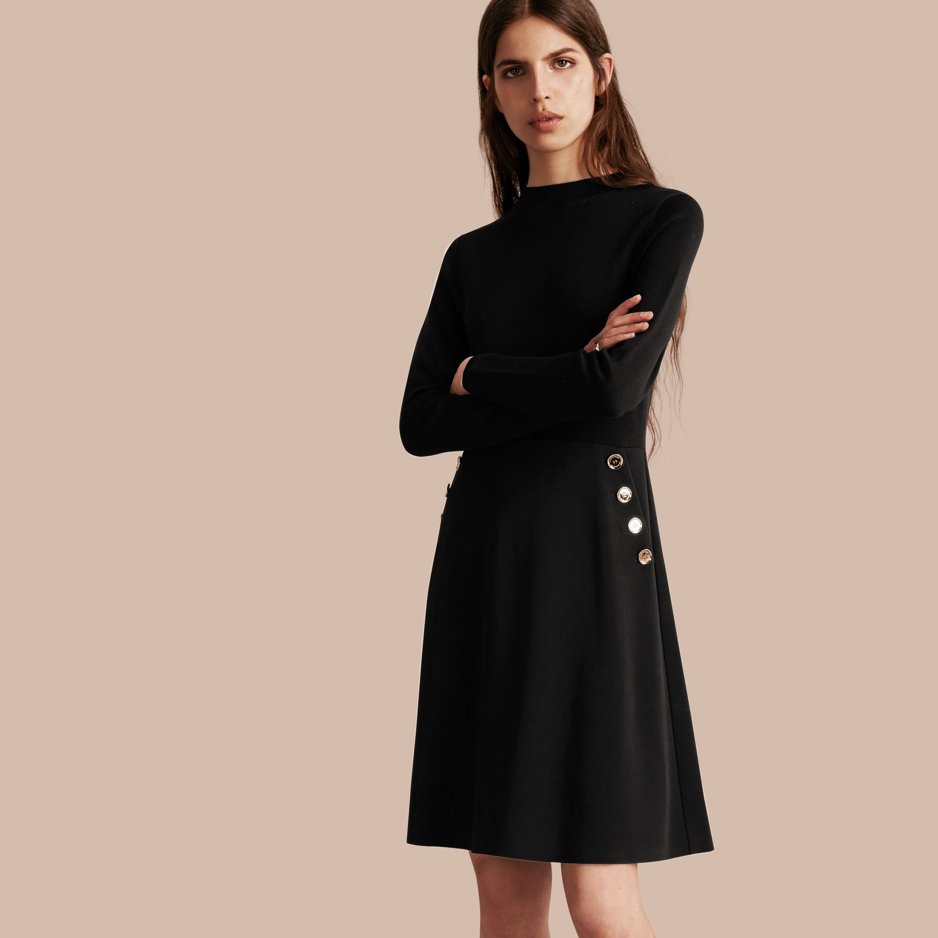 Black Long-sleeved Silk Wool Military Dress - gallery image 1