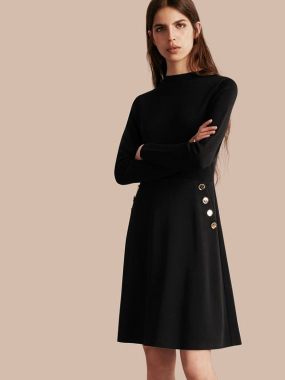 Long-sleeved Silk Wool Military Dress