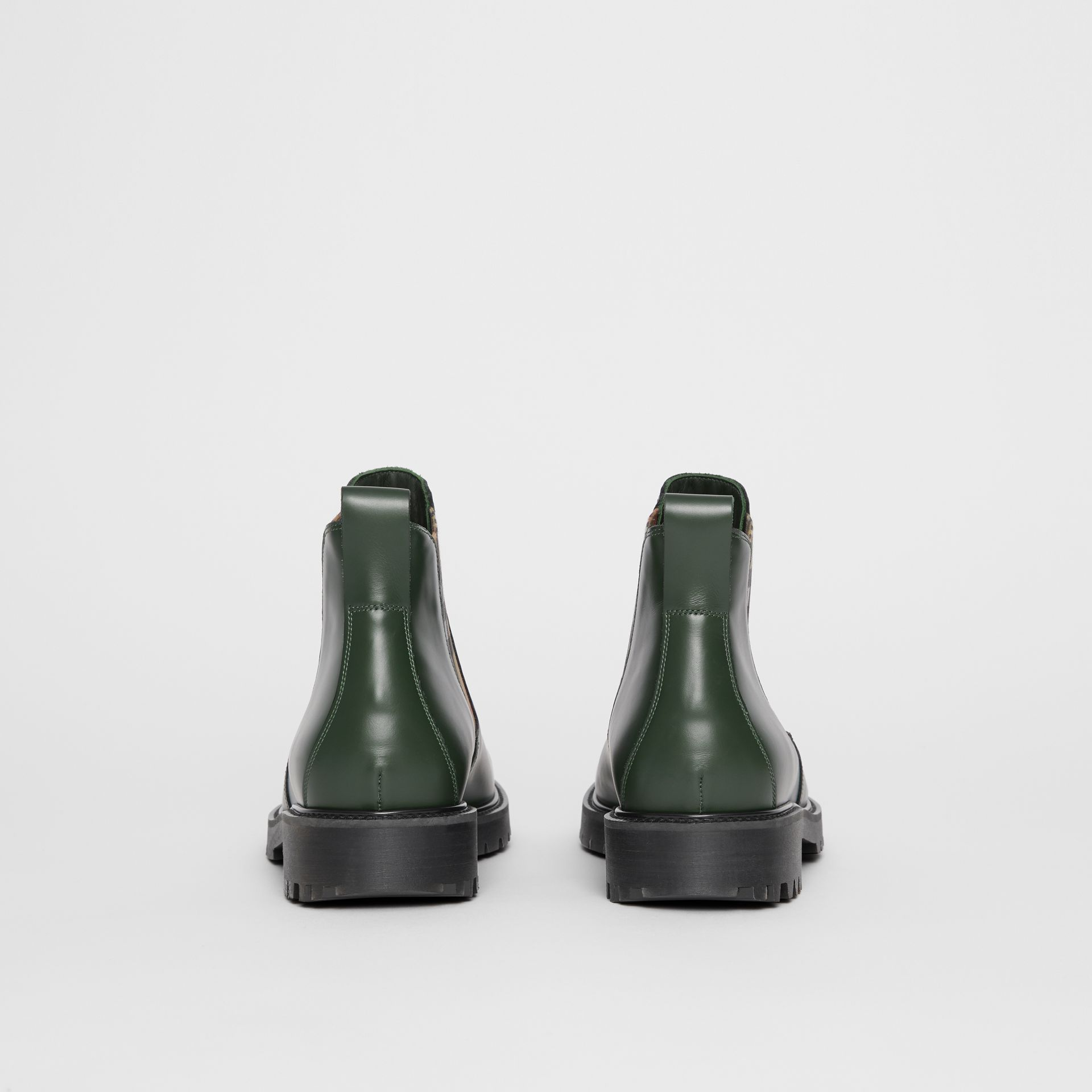 Vintage Check Detail Leather Chelsea Boots in Bottle Green - Men | Burberry - gallery image 4