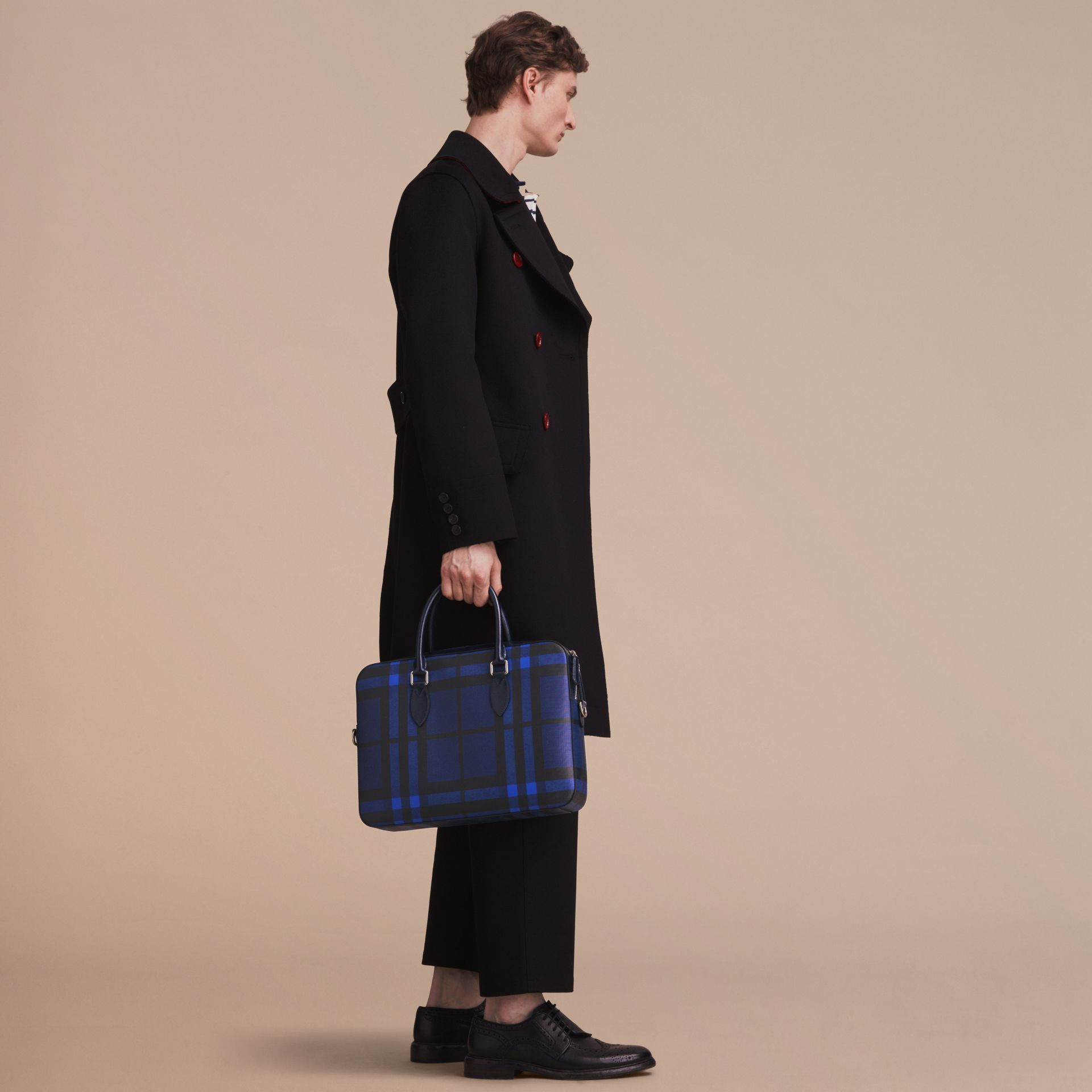Medium Leather Trim London Check Briefcase in Bright Lapis - Men | Burberry - gallery image 3