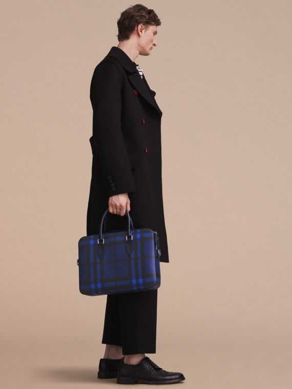 Medium Leather Trim London Check Briefcase in Bright Lapis - Men | Burberry - cell image 2